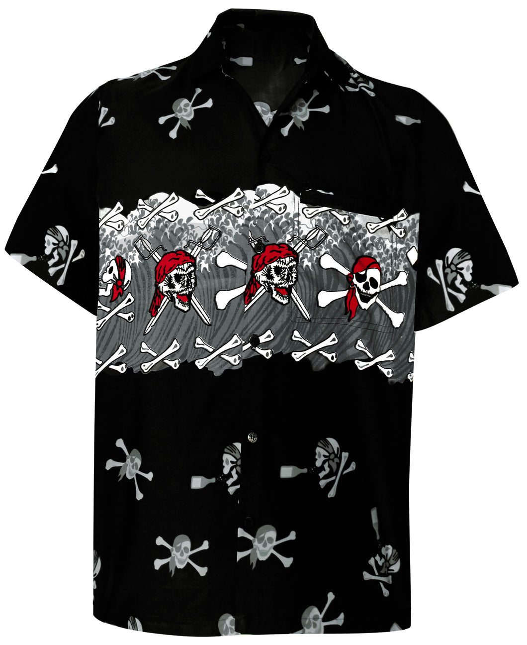 LA LEELA Men Casual Beach hawaiian Shirt Aloha Tropical Beach front Pocket Short sleeve Hawaii Black
