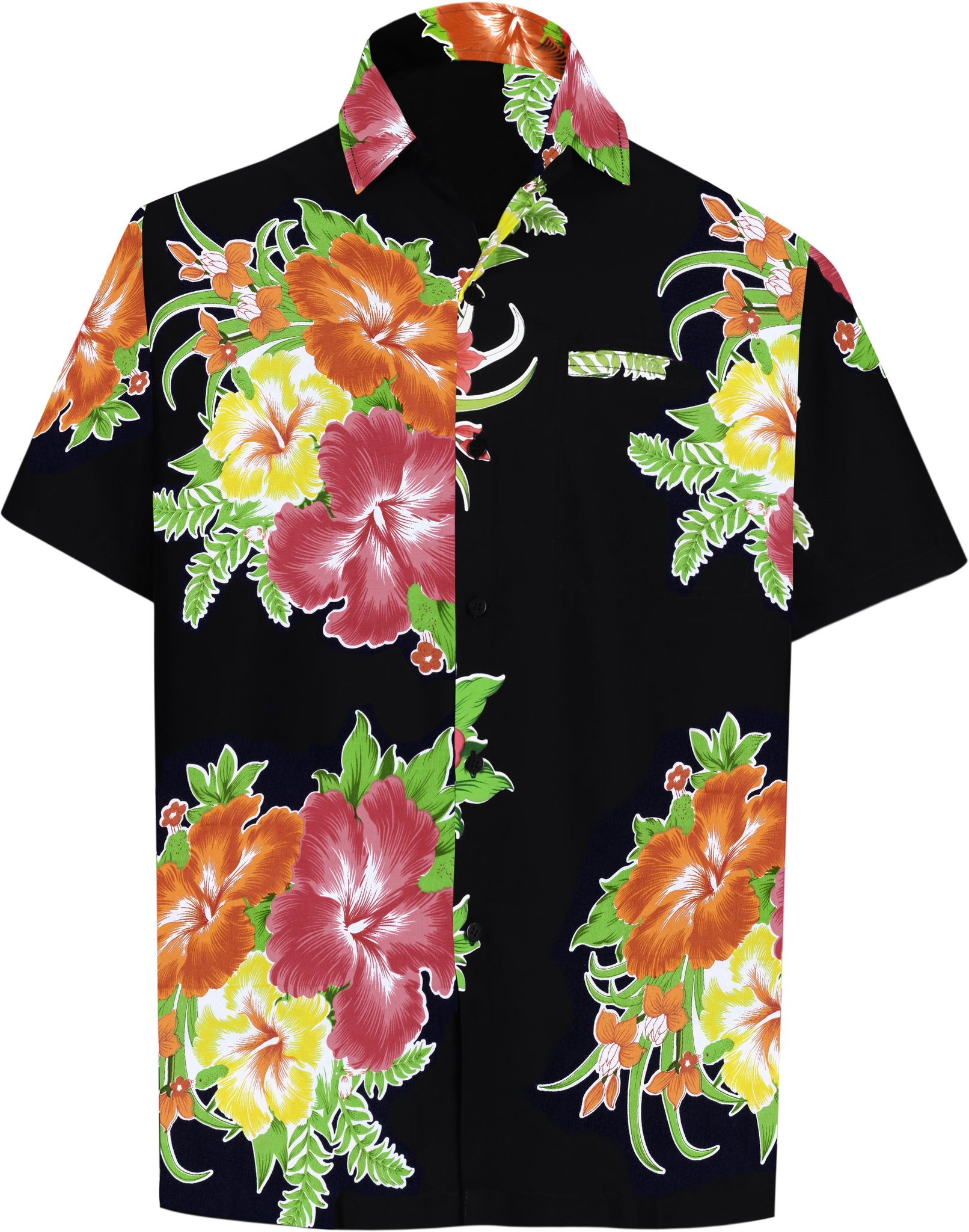 EELa Mens Short Sleeve Printed Floral Flower Casual Button Down Shirt Summer Hawaiian