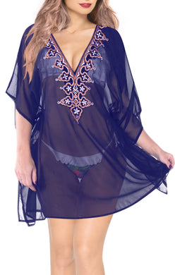 la-leela-bikini-swim-beach-wear-swimsuit-cover-ups-women-caftan-dress-solid-OSFM 8-16W [M- 1X]-Navy Blue_D152