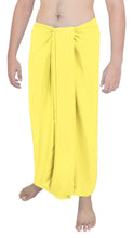 Load image into Gallery viewer, la-leela-men-sarong-rayon-solid-swimsuit-beach-pareo-towel-boys-wrap-78x39-yellow_6553