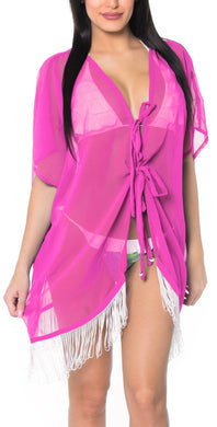 LA LEELA Kimono Cardigan Bikini Cover up jacket loose Beach Swimwear OSFM 14-18 [L-2X] Pink_1293