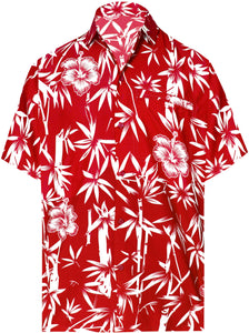 la-leela-shirt-casual-button-down-short-sleeve-beach-shirt-men-aloha-pocket-Blood Red_W344