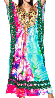 LA LEELA Lounge Caftan fabric Digital HD Print Summer Wear Girls OSFM 14-22 [L-3X] Multicolor_3574