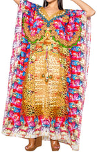 Load image into Gallery viewer, la-leela-lounge-soft-digital-beach-wear-lounge-caftan-top-multi-79-one-size