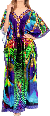 LA LEELA Lounge Likre Digital Long Caftan Beach Dress Multicolor_737 OSFM 14-22W [L-3X]