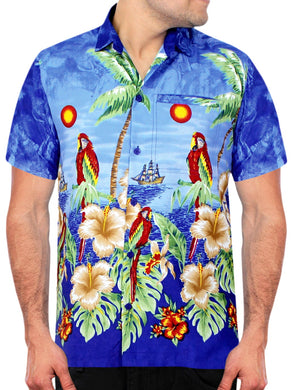 LA LEELA Shirt Casual Button Down Short Sleeve Beach Shirt Men Aloha Pocket shirt Blue_W359