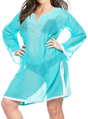 la-leela-bikini-swim-beach-wear-swimsuit-cover-ups-women-caftan-dress-solid-OSFM 8-18 [M- XL]-Green_J87