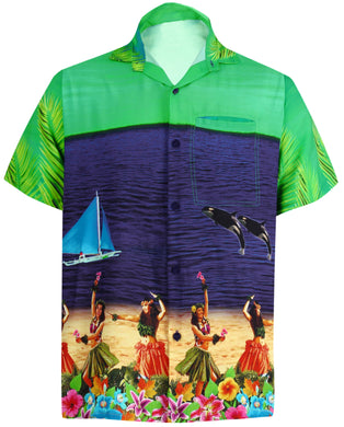 LA LEELA Men Casual Beach Shirt Aloha Tropical Beach Short sleeve Relaxed Regular Fit Navy Blue