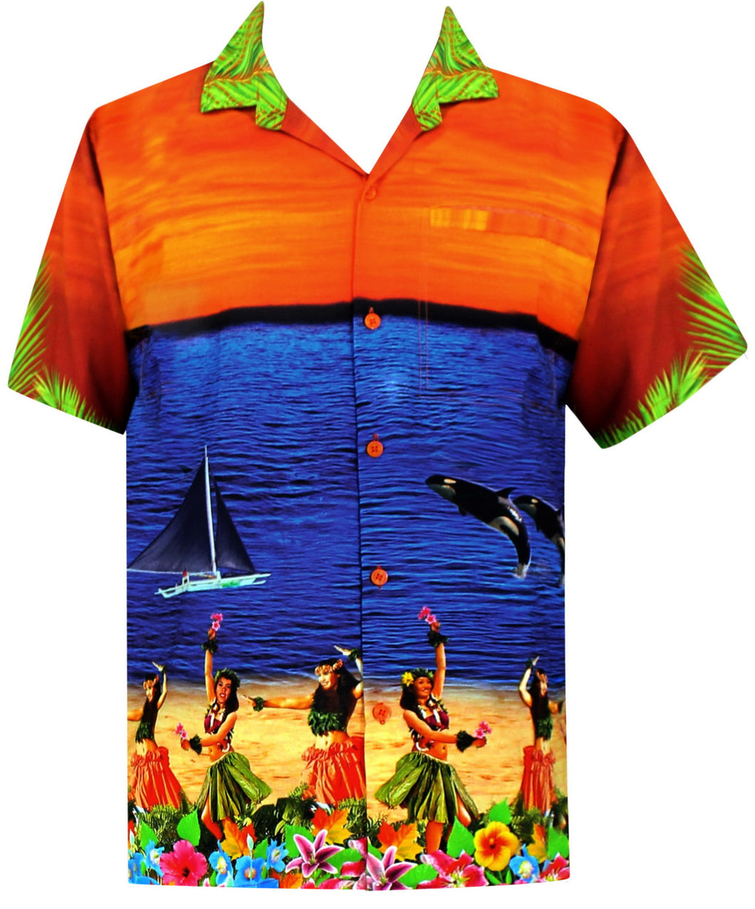LA LEELA Men Regular Size Beach hawaiian Shirt Aloha Tropical Beach front Pocket Short sleeve Orange