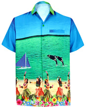 Load image into Gallery viewer, LA LEELA Men Casual Beach Shirt Aloha Tropical Beach front Short sleeve Relaxed Regular Fit Blue