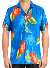 Load image into Gallery viewer, la-leela-mens-casual-beach-hawaiian-shirt-aloha-tropical-beach-front-pocket-short-sleeve-regular-fit-blue