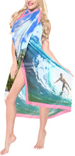 "Load image into Gallery viewer, La Leela Swimwear Sheer Chiffon Coverup Swim Wrap Swimsuit Sarong Digital 78""X39"" Bright Blue_1338"