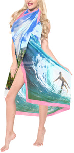 "La Leela Swimwear Sheer Chiffon Coverup Swim Wrap Swimsuit Sarong Digital 78""X39"" Bright Blue_1338"