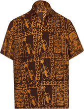 Load image into Gallery viewer, LA LEELA Men's Casual Beach hawaiian Shirt Aloha Tropical Beach  front Pocket Short sleeve Mustard