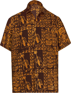 LA LEELA Men's Casual Beach hawaiian Shirt Aloha Tropical Beach  front Pocket Short sleeve Mustard