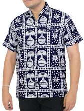 Load image into Gallery viewer, LA LEELA Men Casual Beach Shirt Aloha Tropical Beach front Short sleeve Relaxed Fit Navy Blue