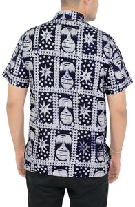 LA LEELA Men Casual Beach Shirt Aloha Tropical Beach front Short sleeve Relaxed Fit Navy Blue