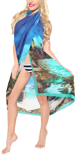 LA LEELA Sheer Chiffon Swimsuit Cover Up  Sarong Digital 78