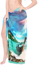"Load image into Gallery viewer, LA LEELA Sheer Chiffon Swimsuit Cover Up  Sarong Digital 78""X39"" Royal Blue_1343 Blue_N369"