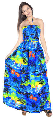 la-leela-evening-beach-swimwear-soft-printed-cover-up-skirt-party-tube-dress-blue-356-one-size