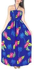 Load image into Gallery viewer, LA LEELA Evening Beach Swimwear Soft  Printed Backless Cover Up Tube Dress Royal Blue 363 One Size