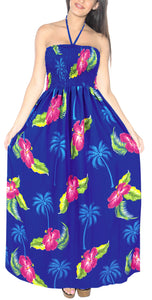 LA LEELA Evening Beach Swimwear Soft  Printed Backless Cover Up Tube Dress Royal Blue 363 One Size