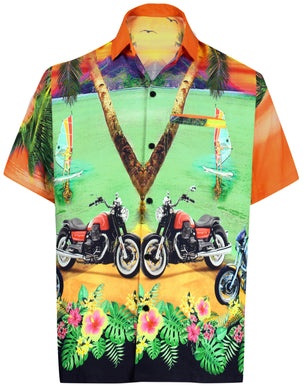 LA LEELA Men Casual Beach hawaiian Shirt Aloha Relaxed Tropical Beach front Short sleeve Orange