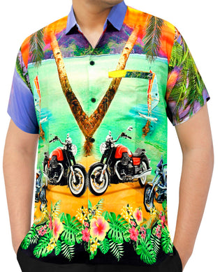 LA LEELA Men's Casual Beach hawaiian Shirt Aloha Tropical Beach  front Pocket Short sleeve Violet