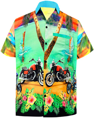 LA LEELA Men Casual Beach wear hawaiian Shirt Aloha Tropical Beach  front Pocket Short sleeve Green