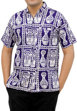 Load image into Gallery viewer, la-leela-mens-casual-beach-hawaiian-printed-shirt-aloha-tropical-beach-front-pocket-short-sleeve-violet