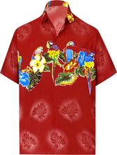 Load image into Gallery viewer, la-leela-shirt-casual-button-down-short-sleeve-beach-shirt-men-aloha-pocket-Blood Red_W369