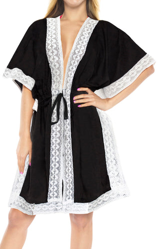 LA LEELA Kimono Cardigan Bikini Cover up jacket loose Rayon Women OSFM 14-30 [L-5X] Black_1504