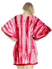 Load image into Gallery viewer, la-leela-cotton-tie_dye-short-caftan-vacation-dress-red_1454-osfm-14-28w-l-4x