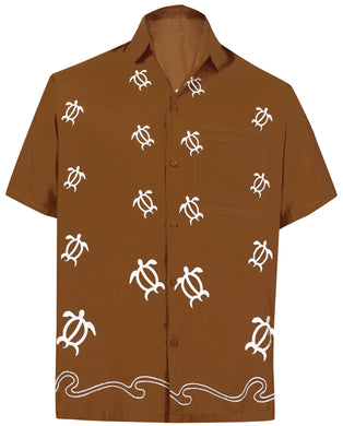 LA LEELA Men's Beach Hawaiian casual Aloha Button Down Short Sleeve shirt Brown_W852