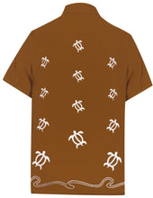 Load image into Gallery viewer, LA LEELA Men's Beach Hawaiian casual Aloha Button Down Short Sleeve shirt Brown_W852