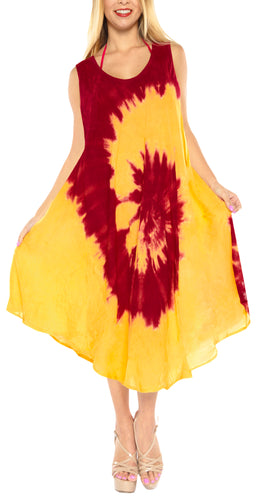 LA LEELA Casual DRESS Beach Cover up Rayon Tie Dye Swimwear Cover Up Long Plus Size Red_I558