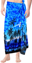 Load image into Gallery viewer, la-leela-men-sarong-soft-light-printed-swimwear-resort-pareo-boys-wrap-72x42-blue_3078