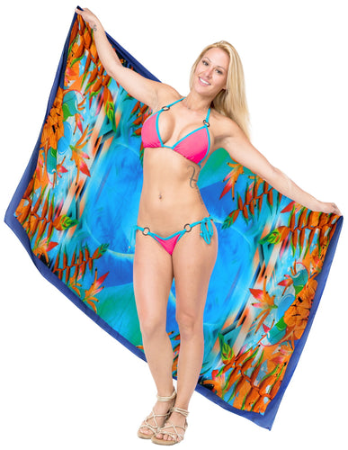 LA LEELA Sheer Chiffon Beach Long Swimsuit Sarong Digital 78