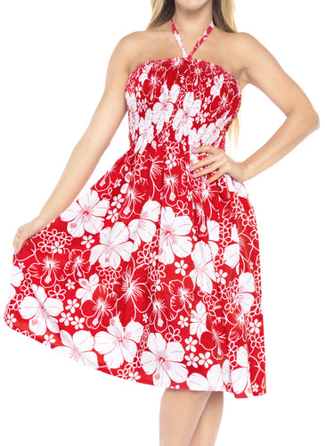 LA LEELA Evening Beach Swimwear Soft Printed Womens Work Casual Stretchy Tube Dress Red_843 One Size