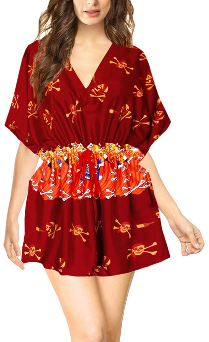 LA-LEELA-Bikni-Swimwear-Women's-Skull-Halloween-Costume-Beach-Swimsuit-Cover-Ups-Drawstring-Blood Red_D770