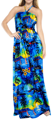 LA LEELA Evening Beach Swimwear Soft Printed Cover Up Womens Swimsuit  Tube Dress Blue 421 One Size