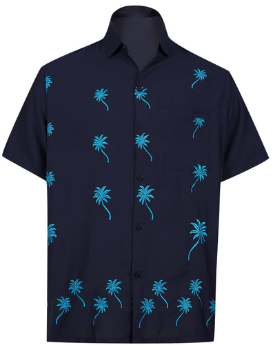 LA LEELA Men Casual Beach Shirt for Aloha Tropical Beach front Short sleeve pockets Navy Blue