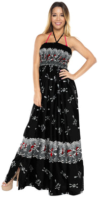 LA LEEL Beach Swimwear Soft Printed Cruise Vintage Vacation Tube Dress Women Black Halloween theme