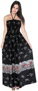 LA LEEL Beach Swimwear Soft Printed Cruise Vintage Vacation Tube Dress Women Black pirates Halloween theme