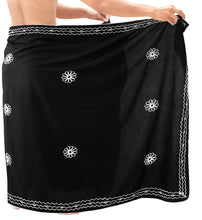 Load image into Gallery viewer, la-leela-men-sarong-rayon-solid-aloha-swimwear-party-wrap-surf-mens-72x42-black_6664