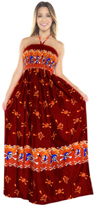 LA LEEL Beach Swimwear Soft Printed Cruise Vintage Vacation Tube Dress Women Red Halloween theme