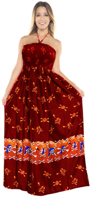 LA LEEL Beach Swimwear Soft Printed Cruise Vintage Vacation Tube Dress Women Red 272 One Size