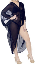 Load image into Gallery viewer, la-leela-women-kimono-blouse-beach-swimsuit-cover-up-solid-osfm-14-28-l-4x-navy-blue_o981