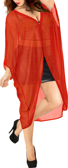 la-leela-women-kimono-blouse-beach-swimsuit-cover-up-solid-OSFM 16-28W [XL- 4X]-Pumpkin Orange_O980