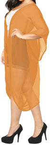 LA LEELA Women's Beach Blouse Tops Kimono Cardigan Bikini Cover Up Solid Plain Mustard_O970